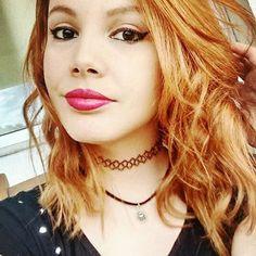 💓 #ruivonatural #ruivo #looksah #lookdasah #hair #tatoochoker #makeup #me #face #selfie #instafashion #orange #black #lipstick #photo #cute #blackeyes  #newhair #longbob #blogruivas #redhead_girls