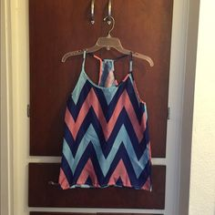 Chevron tank top. Chevron tank top. Size large. 100 Polyester. Very flowy. Blue, navy blue, and coral orange. Tops Tank Tops