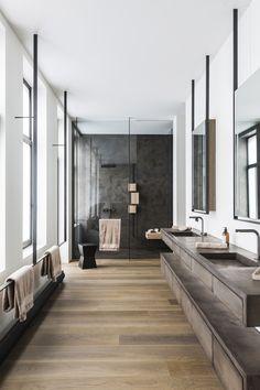 Insane Ideas: Home Contemporary Decor contemporary bedroom dark. Contemporary Stairs, Rustic Contemporary, Contemporary Interior Design, Contemporary Bathrooms, Modern Bathroom Design, Bathroom Interior Design, Luxury Bathrooms, Contemporary Landscape, Lobby Interior