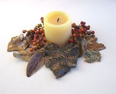 A set of eight beautiful real leaves of various shapes, sizes and colors impressed into clay - wouldnt these look beautiful on a Thanksgiving table?