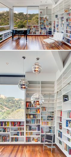 The View House By Aaron Neubert Architects - sigrid - The View House By Aaron Neubert Architects This modern home library has walls filled with open shelving and windows that look out to the neighborhood. Home Library Rooms, Home Library Design, Small Space Interior Design, Home Libraries, Interior Design Living Room, Modern Library, Library Wall, Design Desk, Book Design