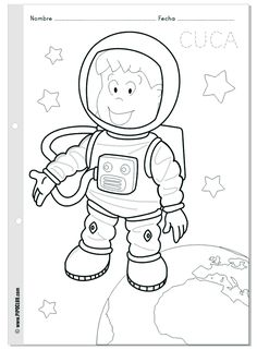 Cuca astronauta - colorea en el espacio - World Space Week