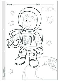 Cuca astronauta - colorea en el espacio - World Space Week