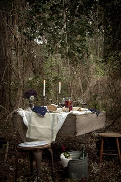 hanging woodland picnic table