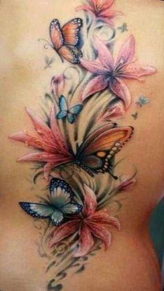 Flower tattoo designs to print - Tattoos - Tattoo Designs For Women Sweet Tattoos, Mom Tattoos, Cute Tattoos, Body Art Tattoos, Cloud Tattoos, Butterfly With Flowers Tattoo, Butterfly Tattoo Designs, Hibiscus Flower Tattoos, Lily Flower Tattoos