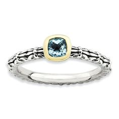 Beautiful 14 Karat Yellow Gold & 925 Sterling Silver Stackable Checker-cut Blue Topaz Ring by VincentsFineJewelry on Etsy