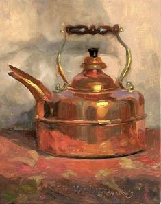Original Oil Painting Still life Copper Kettle Teapot study of metal shiny reflection kitchen art gold  Elo Wobig  8 x 10 small painting by RightBrainy on Etsy #OilPaintingStillLife #OilPaintingFood