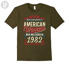 Mens Woman Born In 1982 35th Birthday 35 Years Old T-Shirt Large Olive - Birthday shirts (*Amazon Partner-Link)