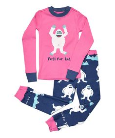 Another great find on #zulily! Pink 'Yeti For Bed' Pajama Set - Toddler & Girls by Lazy One #zulilyfinds
