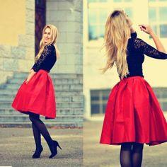 Red Flare Pleated Midi Skirt