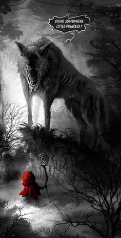 """He circled around to leer at me with his open fangs. """"Where are you going now, little girl?""""  Saeed Jalabi #RedRider https://www.amazon.com/Red-Rider-Randall-Allen-Dunn-ebook/dp/B00DPU2QO0"""
