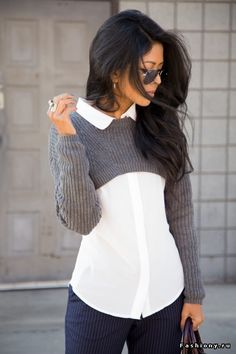 Вязаные косы: образы со свитерами / образы с косу хой