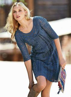 Free and Glossy and New Crochet Dress Pattern Design Ideas Part 17 ; crochet dress for women; Knit Dress, Dress Skirt, Lace Dress, Vestido Casual, Crochet Woman, Cotton Tunics, Knit Fashion, Spring Dresses, Crochet Clothes