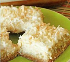 Hawaiian Cheesecake Bars 2 C flour 1 C sugar 1 C soft butter 2 pkg cream cheese 4 TBS sugar 4 TBS milk 2 eggs 2 tsp vanilla 16 oz can crushed pineapple, drained 2 C sweet flaked coconut 2 TBS melted butter Combine flour, 1 C sugar and 1 C soft butter. Pat mixture in 9 X 13 pan. Bake 350 for 15 min. Cool a bit. Mix together cream cheese, 4 TBS sugar, milk and eggs. Mix in vanilla and pineapple. Spread over crust. Mix the coconut and 2 TBS melted butter. Spread over filling. Bake 350, 20 min…