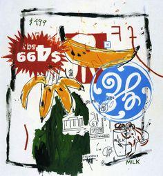 Jean-Michel Basquiat, Andy Warhol, Bananas, 1985, Acryl und Siebdruck auf Leinwand, 224 x 206 cm, Privatbesitz © The Estate of Jean-Michel B...