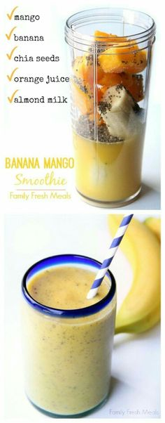 Smoothie Banana Mango Smooth is the perfect way to start your morning! The kids LOVE this smoothie recipe.Banana Mango Smooth is the perfect way to start your morning! The kids LOVE this smoothie recipe. Breakfast Smoothies, Smoothie Drinks, Healthy Smoothies, Healthy Drinks, Healthy Eating, Healthy Recipes, Diet Recipes, Breakfast Fruit, Clean Eating