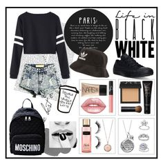 """""""Life in Black and White"""" by sarahcb2002 ❤ liked on Polyvore featuring Converse, NARS Cosmetics, Lime Crime, Disney, adidas, Topshop, Michael Kors and Moschino"""