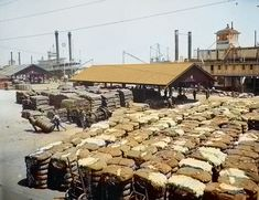 Cotton docks, Mobile, Alabama. Colorized by Steve Smith from an original black-and-white photo. Grist For The Mill, Colorized History, Mobile Alabama, Steve Smith, Background Information, White Image, Historical Photos, Vintage Images, Earth