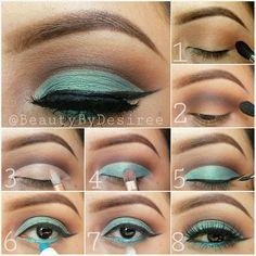Blue and brown cut crease step by step makeup tutorial #maquiagem #evatornadoblog #turq #electricblue Коричнево-голубой макияж - урок