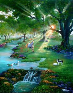 """This is what I think the Rainbow Bridge looks like...  I GOT THIS PHOTO IN A EMAIL ABOUT A SELF TAUGHT PAINTER. THE LITTLE DOG LOOKS JUST LIKE MY """"CHANG"""" I KNEW HE WAS IN A GOOD PLACE.   PAINTED BY JIM WARREN...THANK YOU JIM YOU WILL NEVER KNOW HOW MUCH THIS MEANS TO ALL OF US.........."""