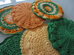 Vintage Green and Yellow Crochet by MemphisNanney on Etsy
