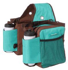 Turquoise/brown western saddle bag carrier | Tough-1 Nylon Water Bottle / Gear Carrier Saddle Bag