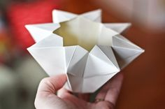 Origami star paper lantern from How About Orange http://howaboutorange.blogspot.com/2012/02/make-origami-star-lantern.html