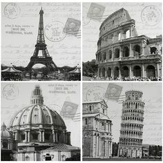 This set of wall hangings depicts four classic European architectural icons. With Paris' Eiffel Tower, Pisa's Leaning Tower, Rome's ancient coliseum, and the dome of the Sistine Chapel this black and white art will update any decor.