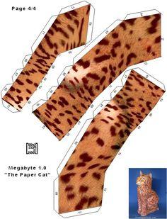 Megabyte Free Paper Toy Cat  - Pattern D