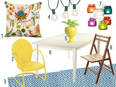 Check out Young House Love's suggestions for a dreamy deck, featuring our Diamond Denim/White indoor/outdoor rug!
