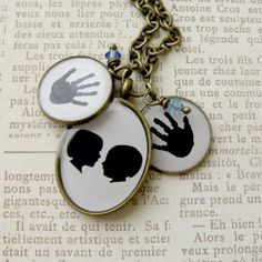 Custom 2 Child Silhouette Pendant with 2 by craftedbykerstin, $130.00