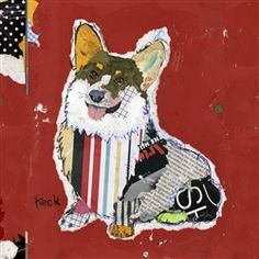 DOG ART: Welsh Pembroke Corgi Dog Art Print on Gallery Wrapped Canvas (wired and ready to hang). Colorful dog art pet portraits with personality by Michel Keck. Abstract and mixed media collage artist, Michel Keck creates stylish, one-of-a-kind pet portraits by cutting and piecing together various new and vintage recycled paper goods.  Her original pug collage, owned by Sigourney Weaver, will be used as set dressing in the upcoming moving Chappie.