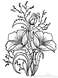 Pattern: DOWNLOAD FREE Arrangement of flowers black and white. Outline drawing by 1evgeniya1, via Dreamstime