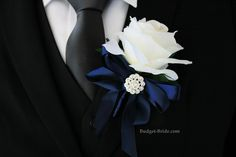 White Wedding Flower with Navy Blue and jewels only $15