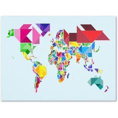Trademark Art 'Tangram Worldmap' Canvas Art by Michael Tompsett, Size: 14 x 19, Multicolor