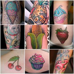 Pizza. Ice cream. Anything smothered with cheese. Black bean quinoa salad with avocado garnish. Sounds great? Ever heard of food tattoos? Have a look!