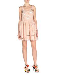 FENDI Sleeveless Jacquard Dress W/Mink Fur Trim, Pink. #fendi #cloth #