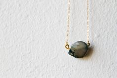 Raw Agate Necklace Grey Aqua Turquoise Black by d3bz on Etsy, $17.00