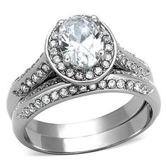 Falling For You - Stainless Steel Oval Cut CZ Stone Stackable Ring