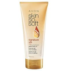 Skin So Soft Signature Silk +argan gelled body oil by Avon. Save 42 Off!. $6.99. Super Hydrating. Oil in Gel. No greassy feel. Body Moisturizer. Argan Oil. Argan Oil infused gel formulated for the care of every woman's body concerns. Helps prevent, stretch marks, dry flaky skin. For a soft, healthy looking skin.
