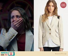 Thea's white blazer with leather elbow patches on Arrow.  Outfit Details: https://wornontv.net/13855/ #Arrow
