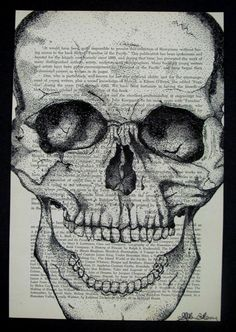 Anatomical Skull Study w/ Pen & Ink, Stippled on Text - Conway High School Art Project