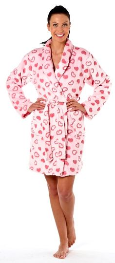 Soft dressing gown with 2 pockets to the front and a belt. Ladies Dressing Gown Available in sizes in Pink and White. Heart Print, Bedtime, Nightwear, Dressing, Size 10, Lingerie, Gowns, Belt, Pockets