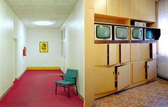 Left: Floor Erich Mielke, corridor, 2004. C-Print, Alu-Dibond, 88 x 70,5 cm. Right: remand center Hohenschönhausen, control center, 2004. C-Print, Acryl, Alu-Dibond, 170 x 135 cm