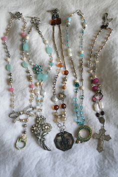 Chains, wire, charms, beads chain cross