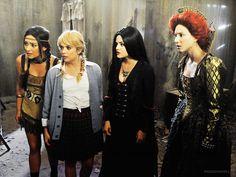 Pretty Little Halloween!  Emily: Native American (Pocahontas?)  Hanna: Britney Spears  Aria: Vampire?  Spencer: Queen Elizabeth?       Not Shown       Mona: Cat Woman  J