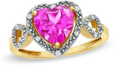 Zales 8.0mm Heart-Shaped Pink Topaz and Diamond Accent Heart Frame Ring in 10K Gold