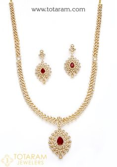 18 Karat Gold Long Diamond Necklace & Drop Earrings Set with Color Stones This Product has Inter Changeable Stones in the Necklace and Earrings Net Gold Weight : grams Diamond Earrings Indian, Diamond Necklace Set, Diamond Pendant, Diamond Jewelry, Ruby Necklace, Simple Necklace, Indian Gold Jewellery Design, Kerala Jewellery, Indian Jewelry