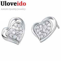 Find More Stud Earrings Information about 2016 Fashion Double Love Heart Austrian Crystal Earrings with Stones Vintage Rhinestones Women Jewelry Silver CZ Stud Earrings,High Quality earring hook,China gift articles for women Suppliers, Cheap earring skull from D&C Fashion Jewelry Buy to Get a Free Gift on Aliexpress.com
