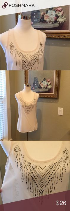 Kiss & Cry Tank Top Beautiful soft tank top in excellent condition. Pretty rhinestones design in the front and a lovely lace back. Tops Tank Tops